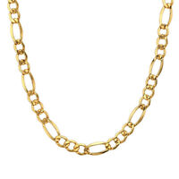 """24"""" Men's Boy Stainless Steel 18K Gold Filled Figaro Chain Necklace Jewelry 6mm"""