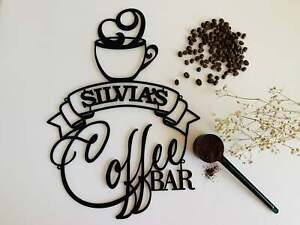 Personalized Coffee Bar Metal Name Sign Coffee Lover Wall Art Kitchen Decor