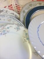6 - Vintage Mismatched China Dinner Plates  Blue and Green Wedding Shabby #18