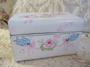 Shabby Chic Hand Painted Roses - Recipe/File Metal Box