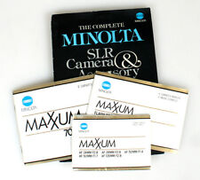 MINOLTA MAXXUM CAMERA, FLASH AND LENS MANUALS W/ MINOLTA SLR GUIDE, LOT OF 4