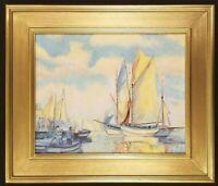 Sailboat Original Oil Painting Seascape Maritime Harbor Port Dock Nautical Art
