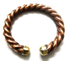 Twisted Copper Bracelet Solid Copper & Brass Cuff Wristlet Wristband Good Luck