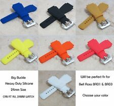 24MM Silicone Rubber Watch Band Strap For Bell Ross BR-01-BR-03 All Color SLIVER