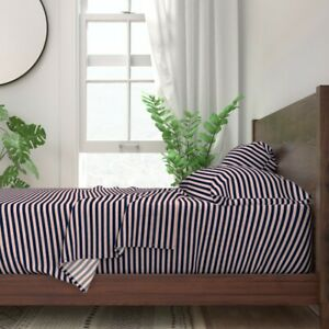 Stripe Stripes Briar Woods Navy And 100% Cotton Sateen Sheet Set by Roostery