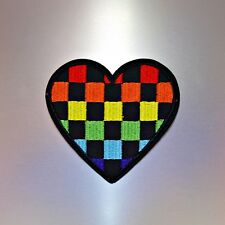 Colourful Heart Patch  — Iron On Badge Embroidered Motif — Love Rainbow Cute