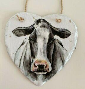 Handmade, cow, cattle, farm, hanging heart slate gift home decor animals