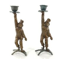 Vintage Brass Monkey Butler Candle Holder Candlesticks Pair 2 Green Patina