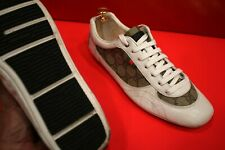 $729.00 !! GUCCI  LUXURY G G MEN'S S OFF WHITE LEATHER SNEAKERS SHOES SIZE 6.5 G