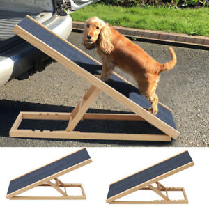 Non-Slip  Wooden Car Bed Pet Ramp For Dog Adjustable Height 30 40 50 60cm