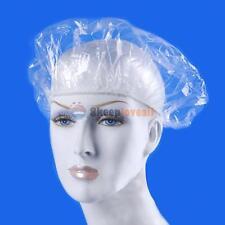 100Pcs Disposable Elastic Plastic Shower Bathing Bouffant Spa Salon Hair Cap Hat