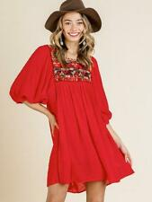 Umgee Aztec Print Embroidered 3/4 Puff Sleeve Boutique Tunic Dress