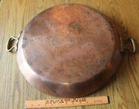 """Bridge Kitchenware Hammered Copper Round Pan brass Vintage 18"""" Made in France"""