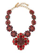 Oscar de la Renta Necklace Massive Haute Couture Runway Red Crystal cross NEW
