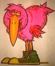 Original Vintage 1973 Cartoon Bird Iron On Transfer Day GLO