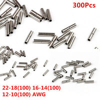 300X Uninsulated Car Wire Butt Connectors 22-18 16-14 12-10 AWG Gauge Terminal