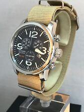 Citizen Men Eco-Drive Chronograph Military  Style NATO Strap Watch AT2100-09E