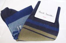 New Paul Smith Men's Socks Striped Green Multi Color 100% Cotton Dress Sale