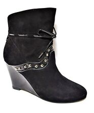 sz 7.5 / 38 MIMCO Velveteen Bootie suede/patent leathe ankle boots AS NEW rp$399