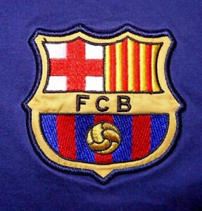 Mens Vintage Blue NIKE FC BARCELONA Embroidered S/S Polo Shirt size L
