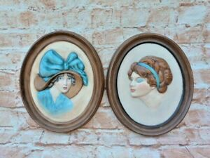 PAIR VINTAGE ART DECO STYLE HAND PAINTED CERAMIC WALL PLAQUES.