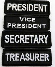 (4) SET BLACK 1X3 CLUB RANK EMBROIDERED IRON ON PATCHES