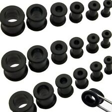 1 Pair Black Thick Silicone Ear Flexible Tunnel Plugs 2g Double Flare 6mm