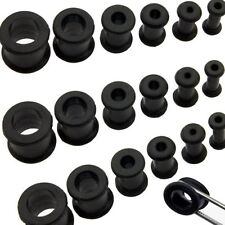 1 Pair Black Thick Silicone Ear Flexible Tunnel Plugs 0g Double Flare 8mm