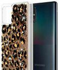 For Samsung Galaxy A32 5G - Waterfall Liquid Glitter Rubber Case Leopard Cheetah