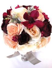 17 piece package Wedding Bouquets Bridal Silk Flower PEACH EGGPLANT ORCHID BLUSH