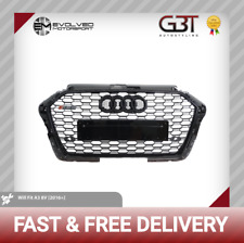 AUDI RS3 STYLE FRONT GRILLE ALL GLOSS BLACK QUATTRO A3/S3 TO RS3 LOOK 8V 2016-