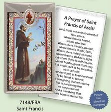 SAINT FRANCIS PRAYER CARD WITH COLOUR MEDAL - STATUES CANDLES PICTURES LISTED