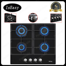 """24"""" 4 Burners Gas Cooktop Tempered Glass Panel Built-in Lpg Ng Hob Black Cooker"""