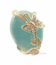 Elegant Blue Crystal Butterfly Decorative Oval Costume Jewellery Gold Ring