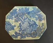 "Japanese Celadon & Blue 11.5"" Platter, Flower Cart"