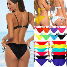 Brazilian Women/Girl Bikini Bottoms Scrunched Ruched Side-Tie Swimwear Swimsuit