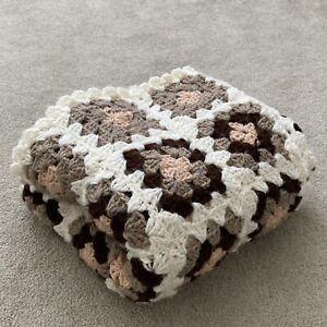 Crochet blanket brown cream granny squares vintage style large medium square