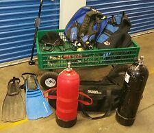 Lot Scuba Gear - Tanks - Regulators - BC's - Fins - 1 Wet Suit 5xl - Gear Bag $$