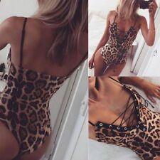 New Sexy Women Bodysuit Leopard Print Lingerie Teddy Dress Frenulum Sleepwear