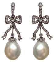 3.25ct ROSE CUT DIAMOND PEARL ANTIQUE LOOK 925 SILVER VALENTINE DANGLER EARRING