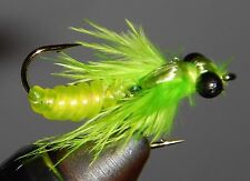 WIGGLE BUG!! Articulated Chartreuse Nymph size 10 (per 3)