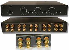 2 Amp X 3 Pair Speaker Selector Switch Switcher Volume Control Commercial Grade Brass Jacks