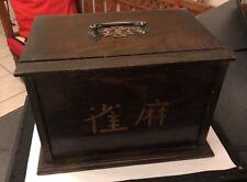 Chinese Antique Wooden Box With Mahjong Bamboo & Bone Mah Jongg Mah jong Set