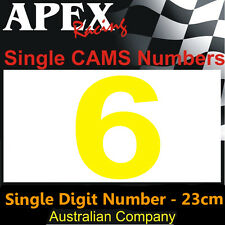 CAMS Window Number 6 Sticker - Single Number 23cm - Race Rally Drift - Yellow