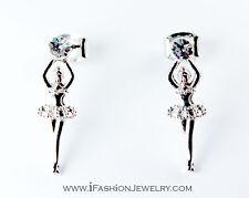 Mini Silver Tone Girl Lady Ballerina Ballet Dancer Stud Earrings Fashion Jewerly