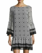 Max Studio Women's Black Printed Long-sleeve Short Dress Size Small