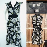 HOBBS Size 12 100% Silk Floral Black Wrap Dress Size Midi Evening Cruise Party