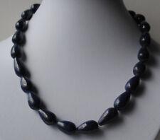 Edelstein Collier mit Lapis Lazuli Steinen in Tropfenform, blaue Halskette