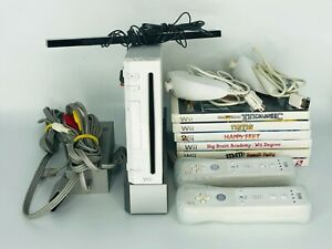 Nintendo Wii White System Console Bundle: 2 OEM Remotes, Nunchucks, Cords, Games