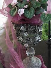 Vintage Kerzenständer Shabby Kerzenhalter Antik Strasssteine Pokal Windlicht